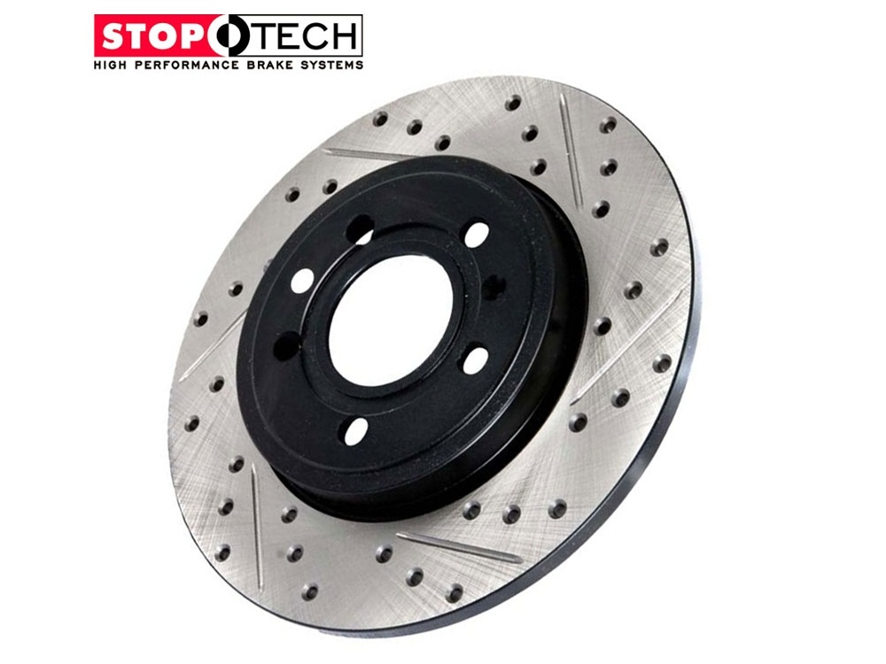 StopTech Sport Slotted/Drilled Front Brake Rotors 127 42076L + 127 42076R  Nissan 350Z Infiniti G35 Brembo Brakes