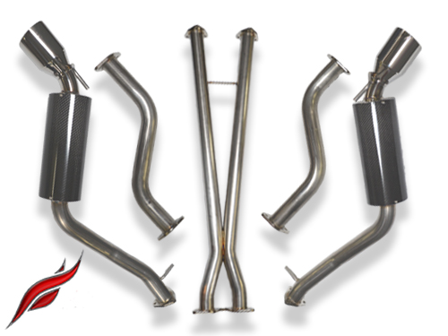 fast intentions carbon fiber round cat back exhaust system infiniti g37 q60 coupe 2008 15